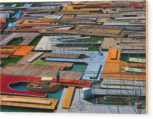 Docks In A Row Wood Print