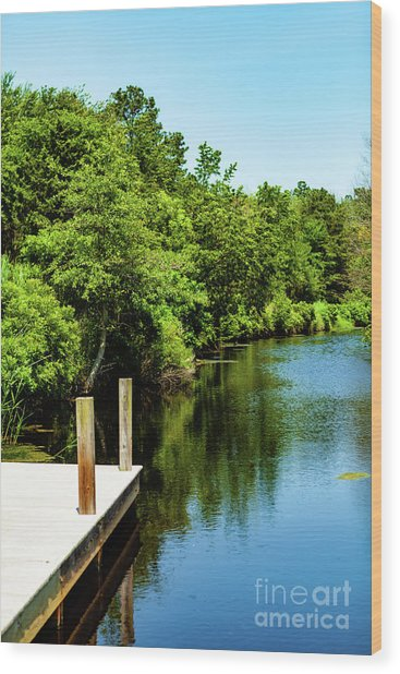 Dockside In Delaware Wood Print