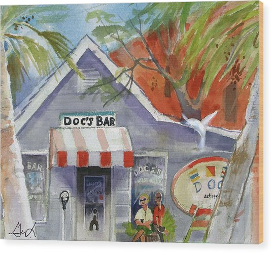 Docs Bar Tybee Island Wood Print