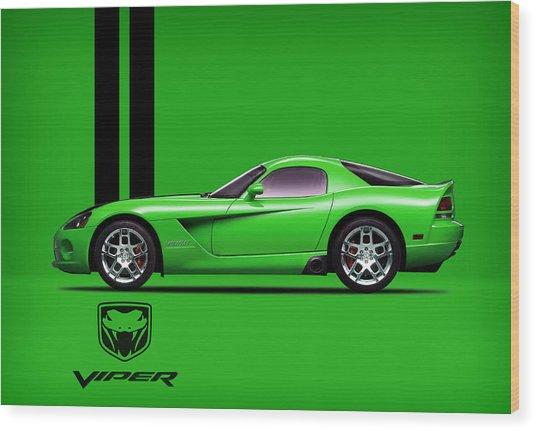 Dodge Viper Snake Green Wood Print