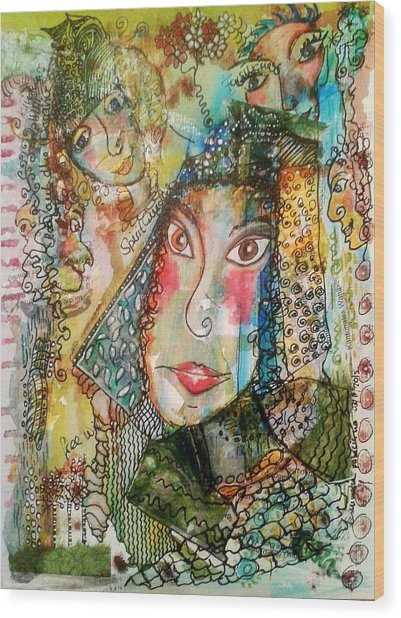 Doe Eyed Girl And Her Spirit Guides Wood Print