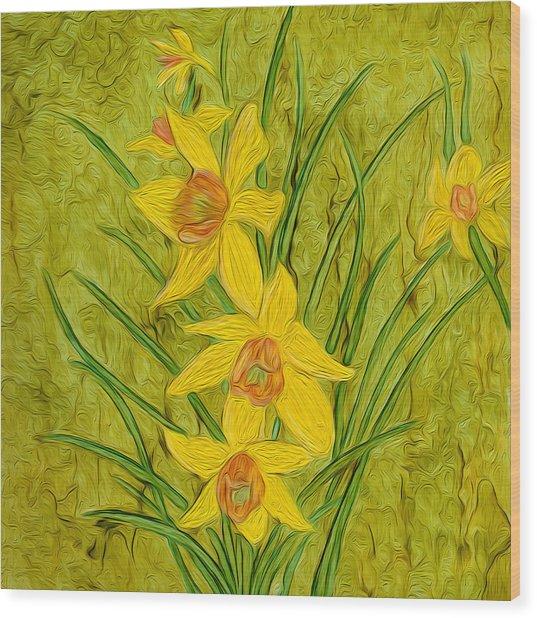 Daffodils Too Wood Print