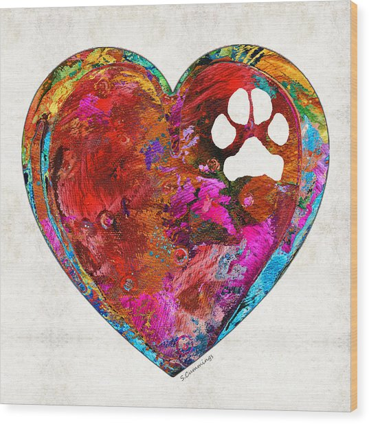Dog Art - Puppy Love 2 - Sharon Cummings Wood Print