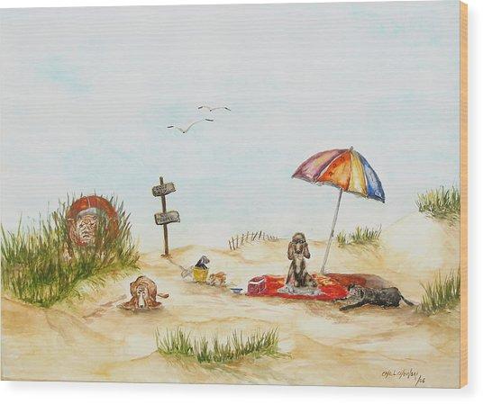 Dog Beach Wood Print by Miroslaw  Chelchowski