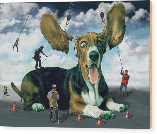Dog Construction Wood Print