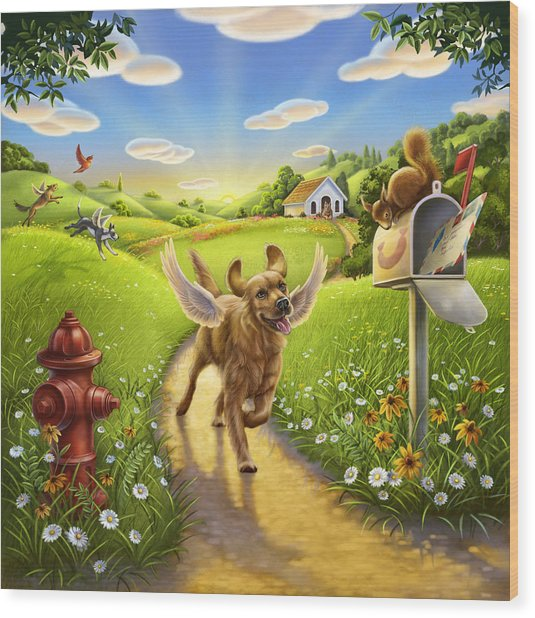 Dog Heaven With Wings Wood Print