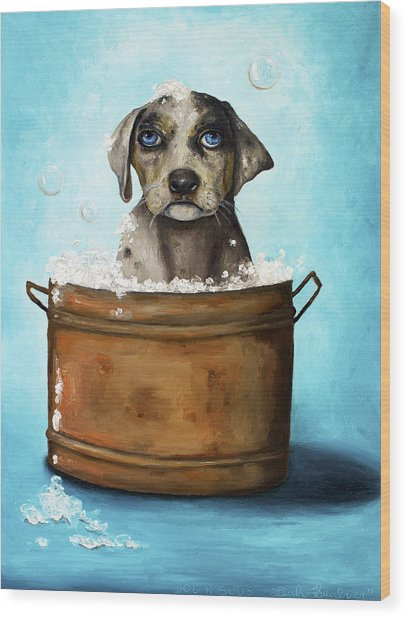 Dog N Suds Wood Print