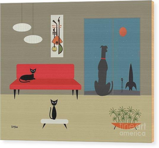 Dog Spies Alien Wood Print