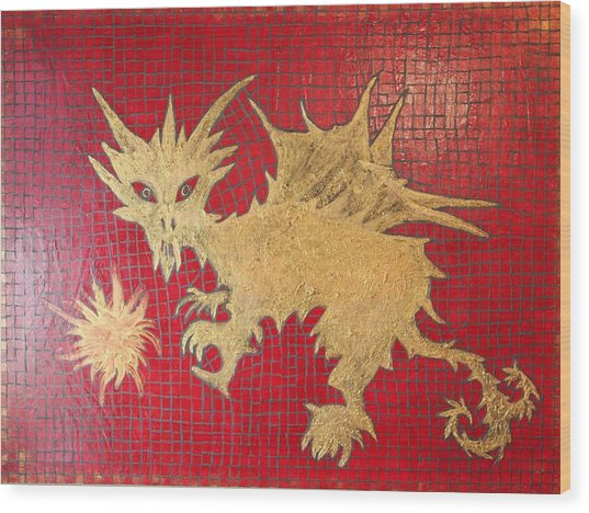 Dog Spikey The Dragon And Elizabeth The Fireball Wood Print by Tracy Fetter