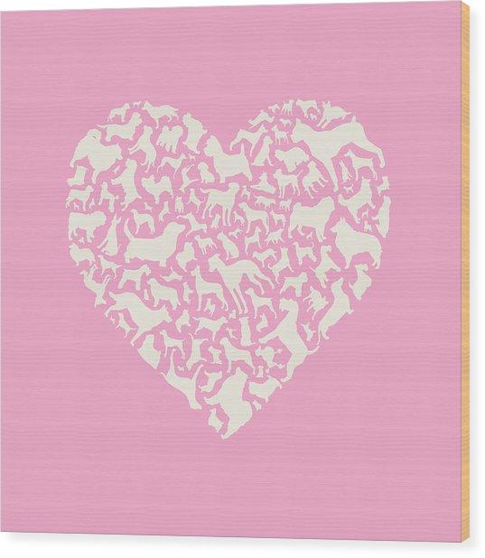 Dog Valentine Wood Print by Mitch Frey