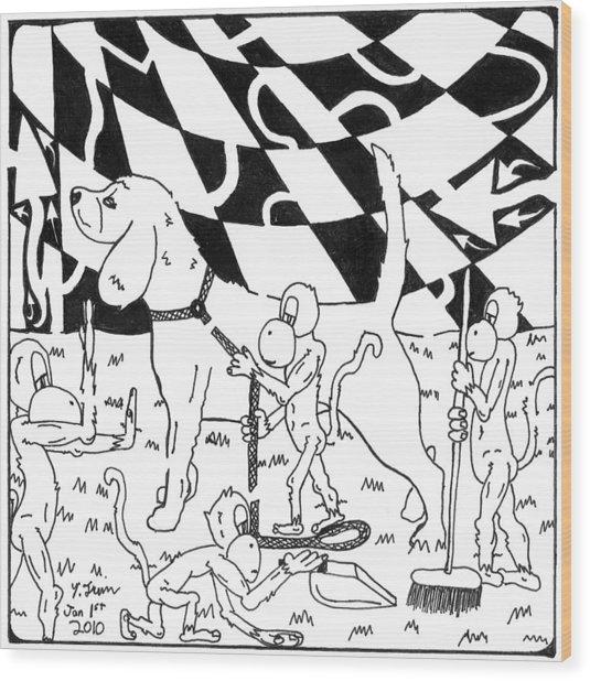 Dog Walking Monkeys Maze By Yonatan Frimer Wood Print by Yonatan Frimer Maze Artist