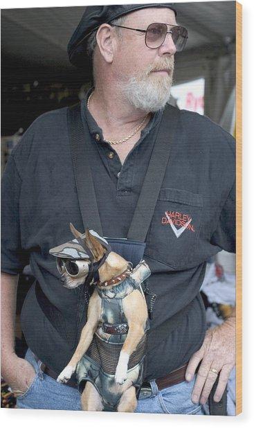 Doggie Biker Wood Print