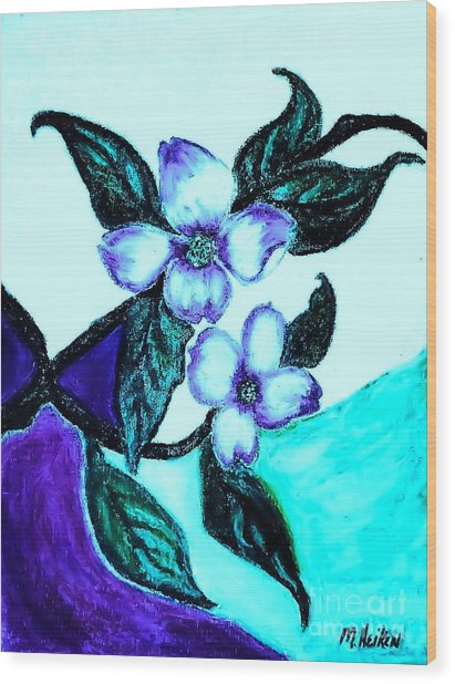 Dogwood Purple Wood Print by Marsha Heiken