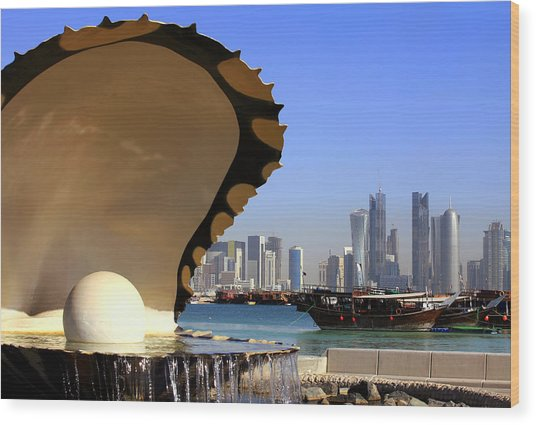 Doha Fountain Skyline And Harbour Wood Print