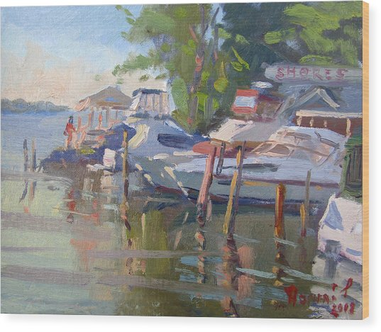 Docks At The Shores  Wood Print