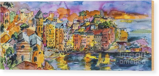 Dolce Vita In Vernazza Italy Wood Print