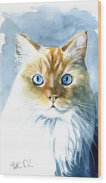 Doll Face Flame Point Himalayan Cat Painting Wood Print