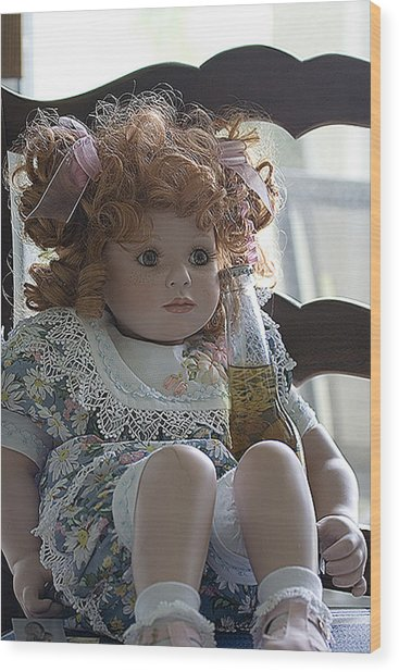 Doll Sitting In Chair With Bottle Of Beer Wood Print by Christopher Purcell