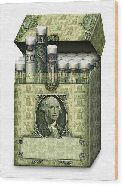 Dollar Cigarettes Wood Print
