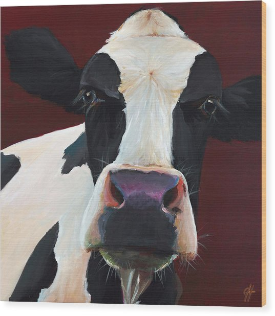 Dolly The Holstein Wood Print by Cari Humphry