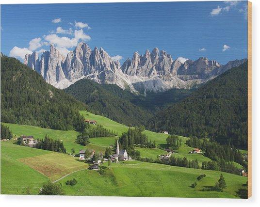 Dolomites In Summer Wood Print by Dan Breckwoldt