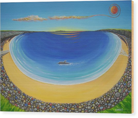 Dolphin At Whitestrand Wood Print by Eamon Doyle