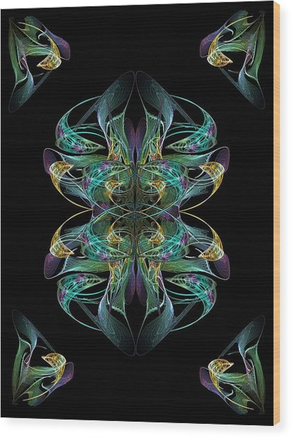 Dolphin Dance Flower Wood Print by Ricky Kendall