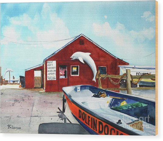 Dolphin Dock II Wood Print