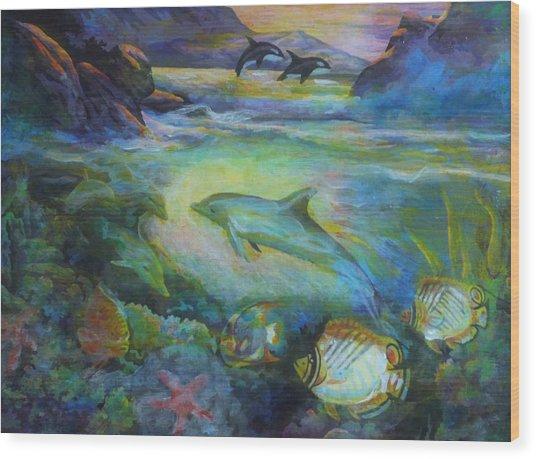 Dolphin Fantasy Wood Print