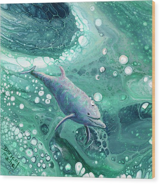 Wood Print featuring the painting Dolphin Magic by Darice Machel McGuire