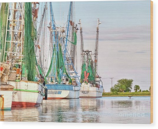 Dolphin Tail - Docked Shrimp Boats Wood Print