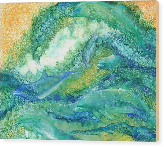 Wood Print featuring the mixed media Dolphin Waves 2 by Carol Cavalaris