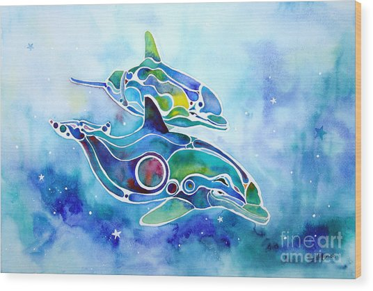 Dolphins Dance Wood Print by Jo Lynch