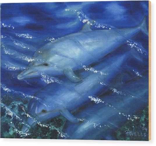 Dolphins Swimming Wood Print by Tanna Lee M Wells
