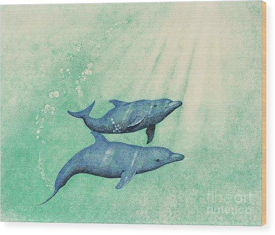 Dolphins Wood Print by Wayne Hardee