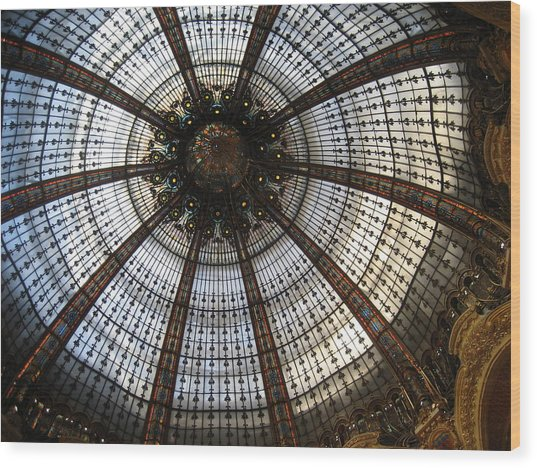 Dome Of The Galleries Lafayette Wood Print by Victoria Heryet