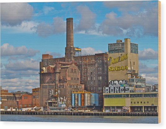 Domino Sugar Water View Wood Print