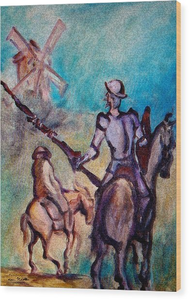 Don Quixote With Windmill Wood Print