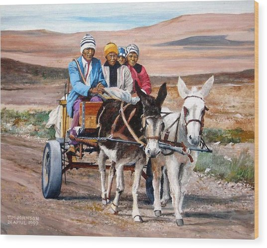Donkey Cart Wood Print by Tim Johnson
