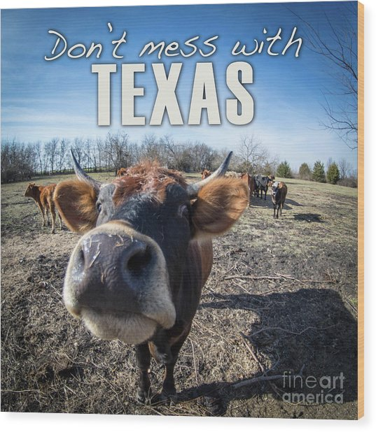 Don't Mess With Texas Wood Print