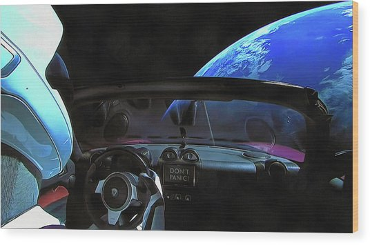 Dont Panic - Tesla In Space Wood Print