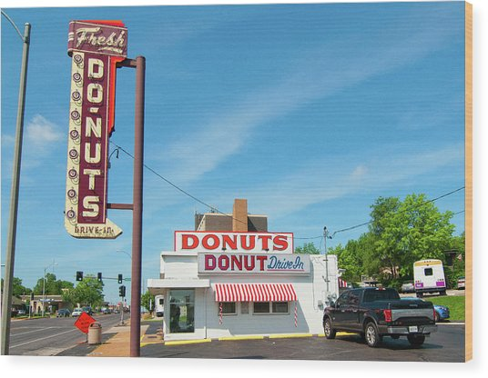Donut Drive In Wood Print