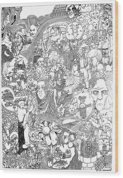 Doodle Art 1987 Wood Print