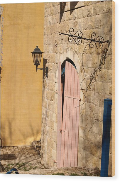 Door And Streetlight. Wood Print