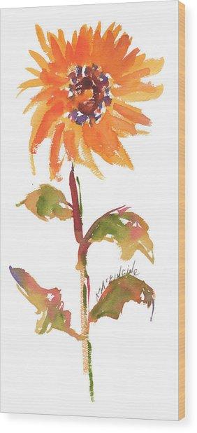 Door Keeper Sunflower Watercolor Painting By Kmcelwaine Wood Print