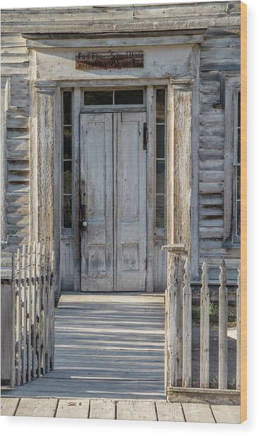 Door Of The Old Bannack Schoolhouse And Masonic Temple Wood Print