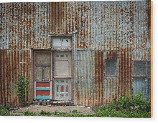 Door, Toronto, Kansas Wood Print