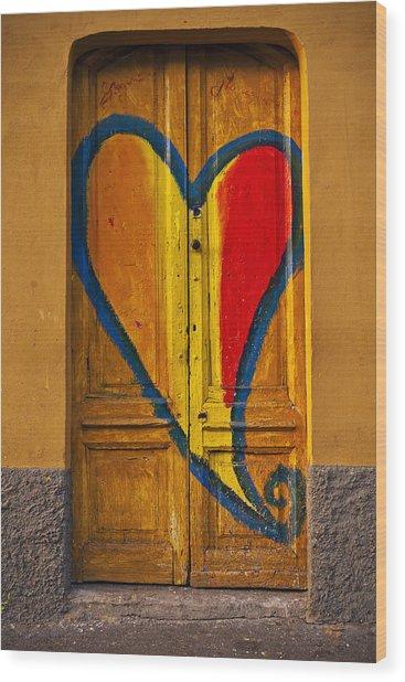 Door With Heart Wood Print
