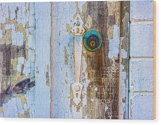 Door With Weathered Paint Wood Print