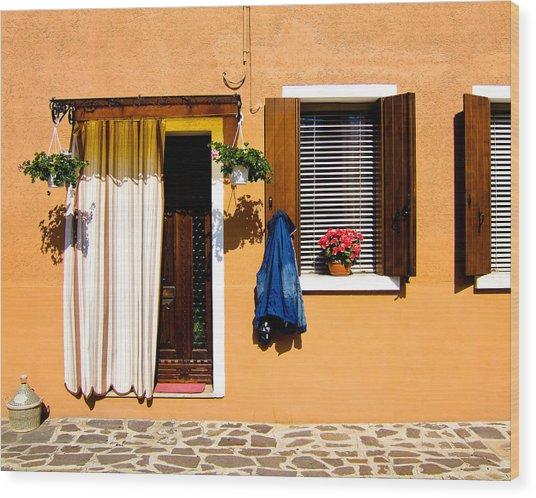 Doors And Windows IIi Burano Italy Wood Print by Carl Jackson